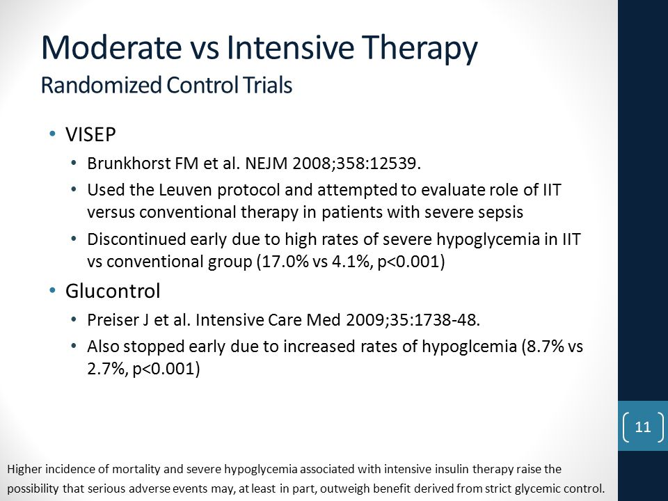 Moderate vs Intensive Therapy Randomized Control Trials VISEP Brunkhorst FM et al.