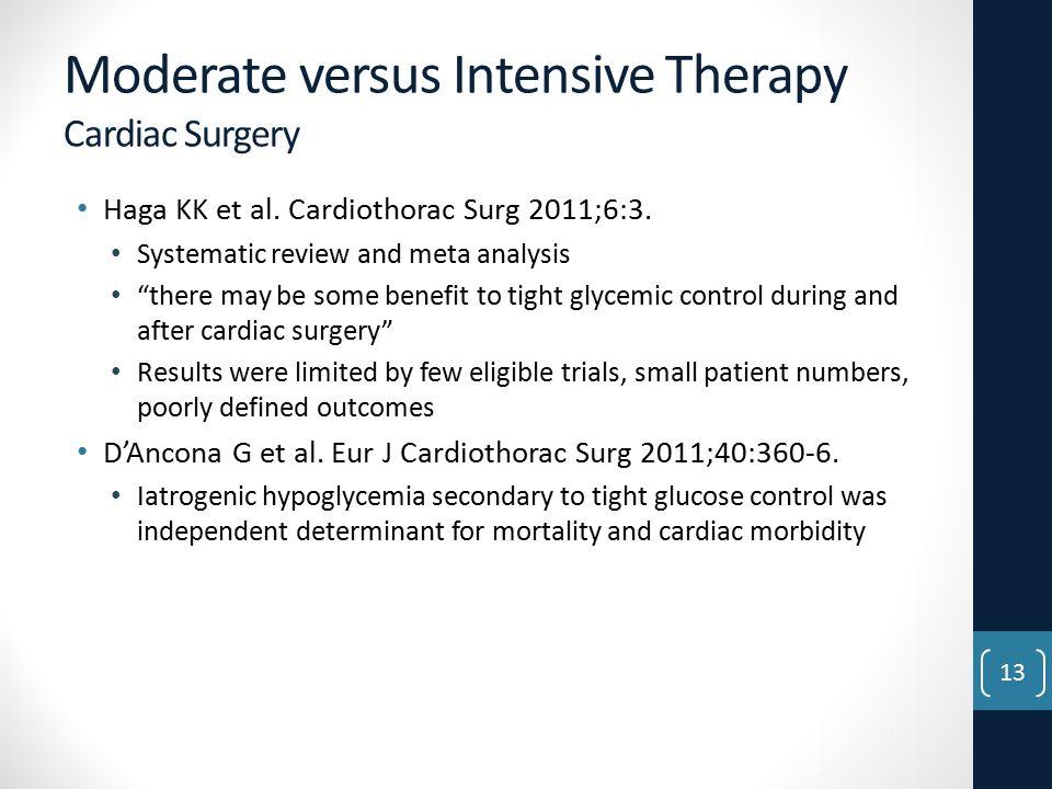 Moderate versus Intensive Therapy Cardiac Surgery Haga KK et al.