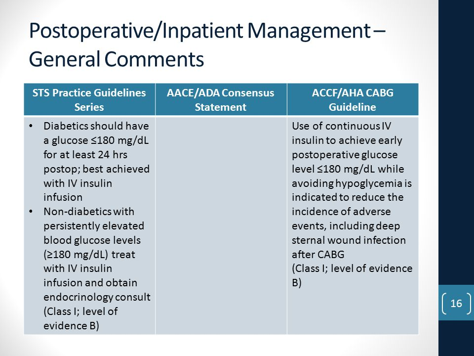 Postoperative/Inpatient Management – General Comments STS Practice Guidelines Series AACE/ADA Consensus Statement ACCF/AHA CABG Guideline Diabetics should have a glucose ≤180 mg/dL for at least 24 hrs postop; best achieved with IV insulin infusion Non-diabetics with persistently elevated blood glucose levels (≥180 mg/dL) treat with IV insulin infusion and obtain endocrinology consult (Class I; level of evidence B) Use of continuous IV insulin to achieve early postoperative glucose level ≤180 mg/dL while avoiding hypoglycemia is indicated to reduce the incidence of adverse events, including deep sternal wound infection after CABG (Class I; level of evidence B) 16