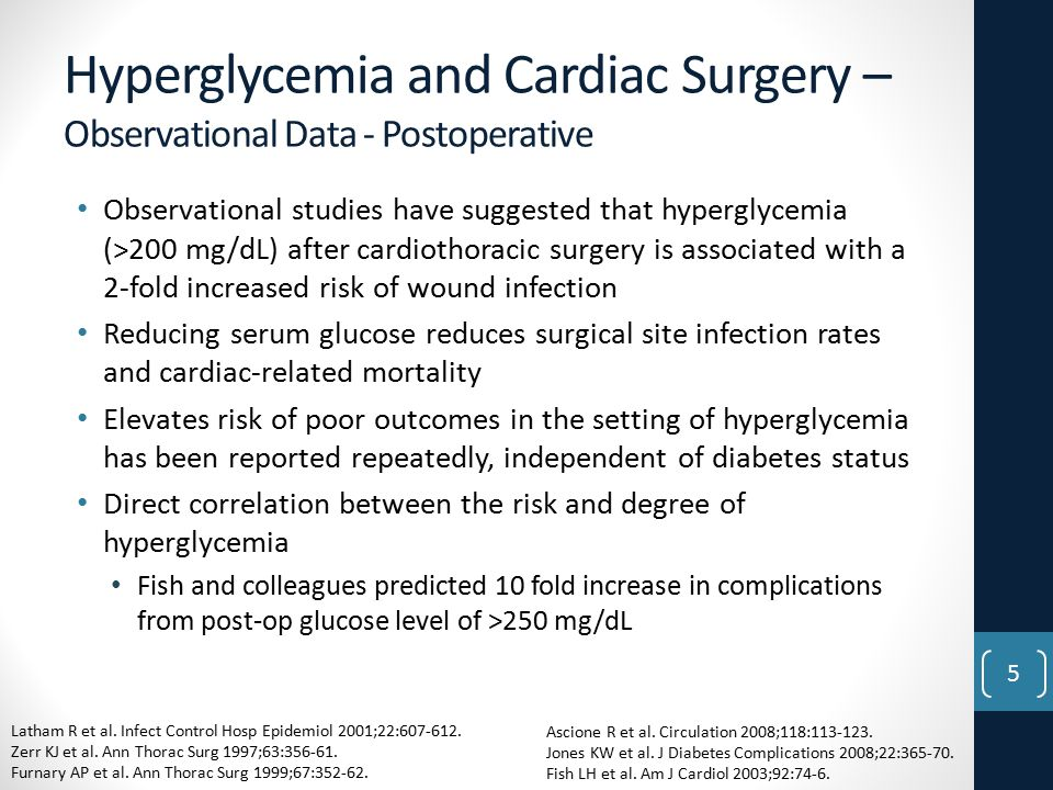 Hyperglycemia and Cardiac Surgery – Observational Data - Postoperative Observational studies have suggested that hyperglycemia (>200 mg/dL) after cardiothoracic surgery is associated with a 2-fold increased risk of wound infection Reducing serum glucose reduces surgical site infection rates and cardiac-related mortality Elevates risk of poor outcomes in the setting of hyperglycemia has been reported repeatedly, independent of diabetes status Direct correlation between the risk and degree of hyperglycemia Fish and colleagues predicted 10 fold increase in complications from post-op glucose level of >250 mg/dL Latham R et al.