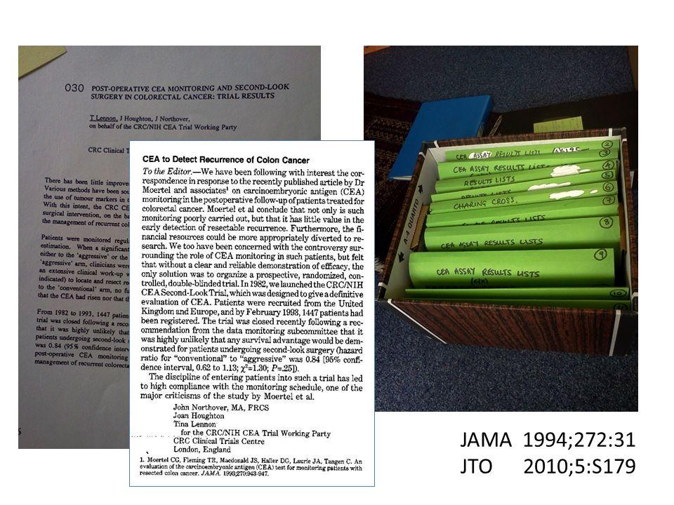 JAMA 1994;272:31 JTO 2010;5:S179