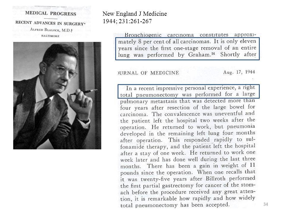 34 New England J Medicine 1944; 231:261-267