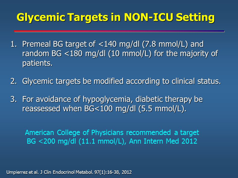 Glycemic Targets in NON-ICU Setting Glycemic Targets in NON-ICU Setting 1.Premeal BG target of <140 mg/dl (7.8 mmol/L) and random BG <180 mg/dl (10 mm