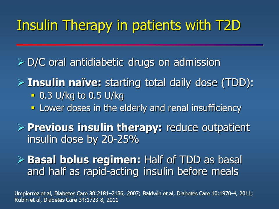  D/C oral antidiabetic drugs on admission  Insulin naïve: starting total daily dose (TDD):  0.3 U/kg to 0.5 U/kg  Lower doses in the elderly and r
