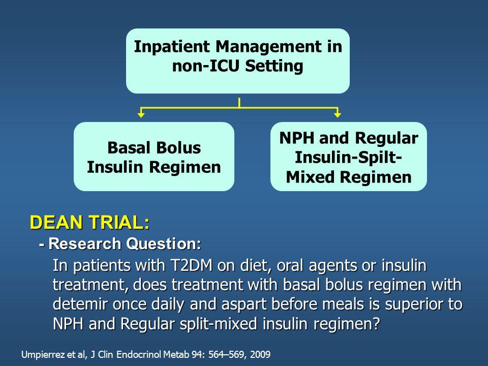 Inpatient Management in non-ICU Setting Basal Bolus Insulin Regimen NPH and Regular Insulin-Spilt- Mixed Regimen In patients with T2DM on diet, oral a