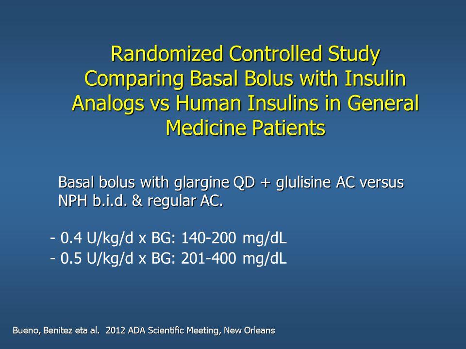 Randomized Controlled Study Comparing Basal Bolus with Insulin Analogs vs Human Insulins in General Medicine Patients Bueno, Benitez eta al. 2012 ADA