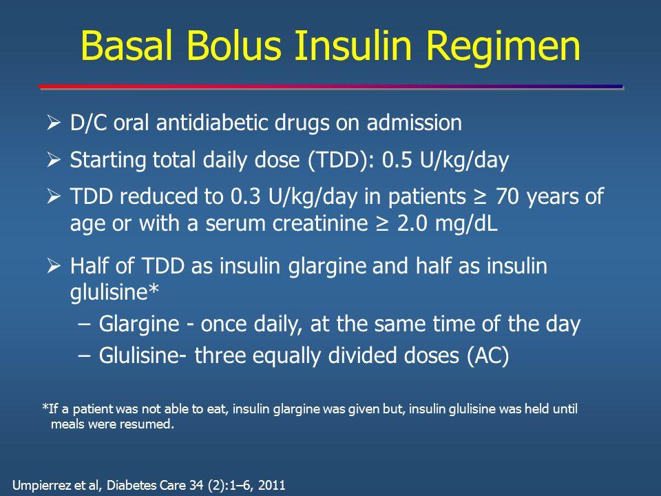 Basal Bolus Insulin Regimen  D/C oral antidiabetic drugs on admission  Starting total daily dose (TDD): 0.5 U/kg/day  TDD reduced to 0.3 U/kg/day i