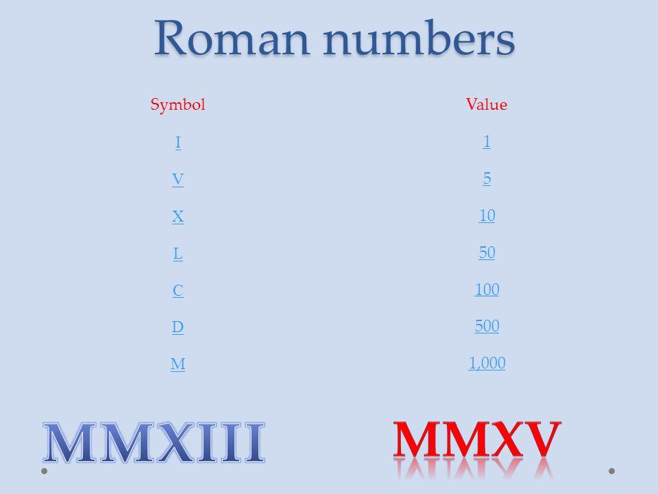 Roman numbers SymbolValue I 1 V 5 X 10 L 50 C 100 D 500 M 1,000