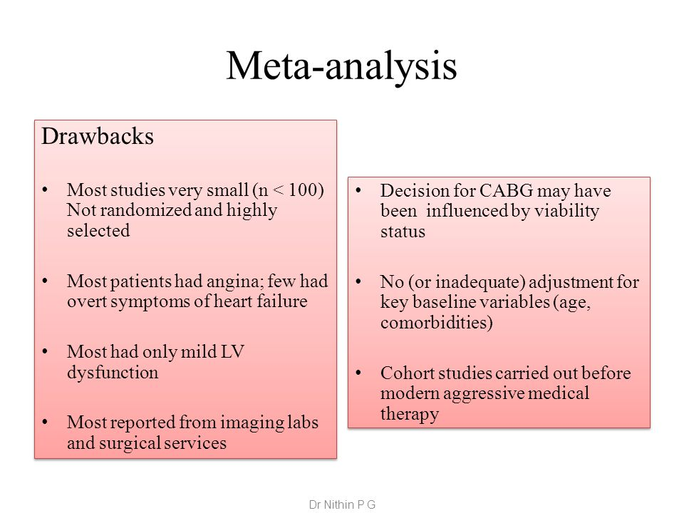 Meta-analysis Drawbacks Most studies very small (n < 100) Not randomized and highly selected Most patients had angina; few had overt symptoms of heart failure Most had only mild LV dysfunction Most reported from imaging labs and surgical services Drawbacks Most studies very small (n < 100) Not randomized and highly selected Most patients had angina; few had overt symptoms of heart failure Most had only mild LV dysfunction Most reported from imaging labs and surgical services Decision for CABG may have been influenced by viability status No (or inadequate) adjustment for key baseline variables (age, comorbidities) Cohort studies carried out before modern aggressive medical therapy Decision for CABG may have been influenced by viability status No (or inadequate) adjustment for key baseline variables (age, comorbidities) Cohort studies carried out before modern aggressive medical therapy Dr Nithin P G