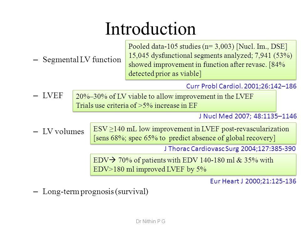 Introduction – Segmental LV function – LVEF – LV volumes – Long-term prognosis (survival) Pooled data-105 studies (n= 3,003) [Nucl.