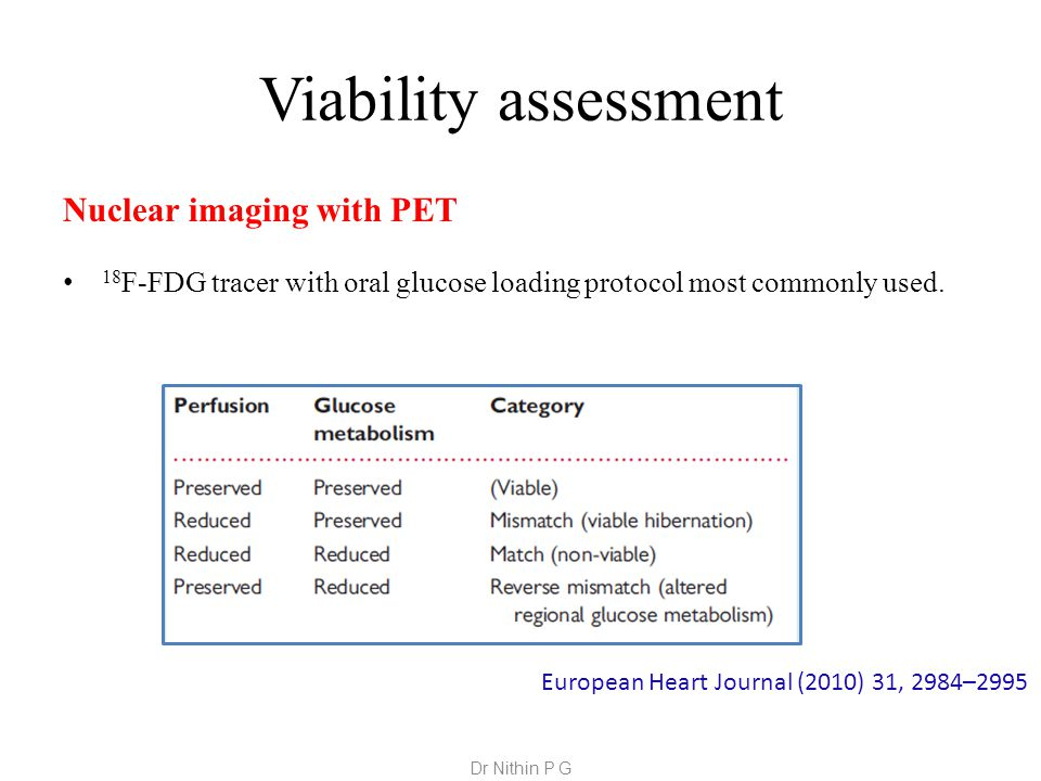 Viability assessment Nuclear imaging with PET 18 F-FDG tracer with oral glucose loading protocol most commonly used.