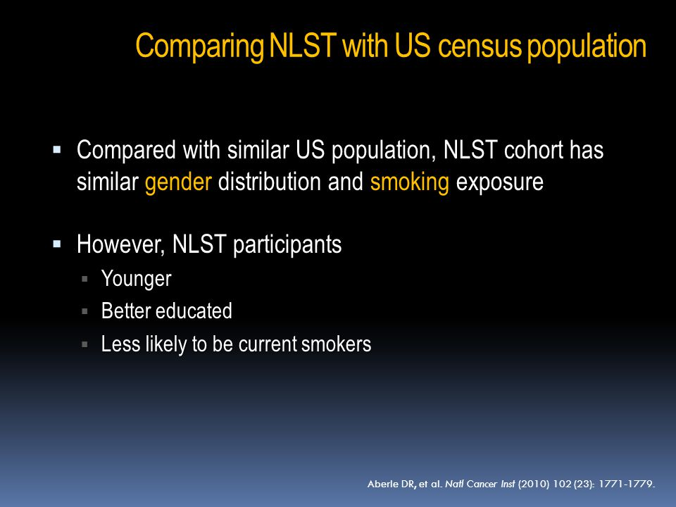  Compared with similar US population, NLST cohort has similar gender distribution and smoking exposure  However, NLST participants  Younger  Bette