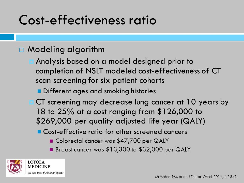 Cost-effectiveness ratio  Modeling algorithm  Analysis based on a model designed prior to completion of NSLT modeled cost-effectiveness of CT scan s