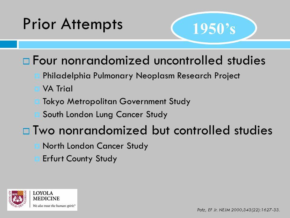 Prior Attempts  Four nonrandomized uncontrolled studies  Philadelphia Pulmonary Neoplasm Research Project  VA Trial  Tokyo Metropolitan Government