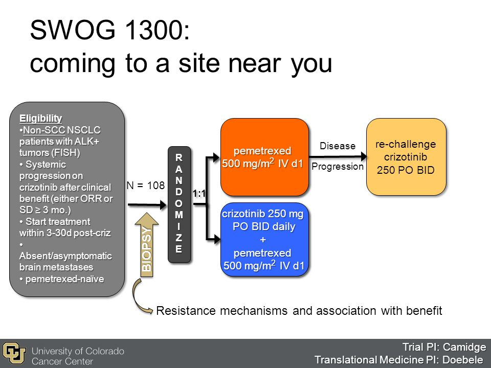 Disease Progression SWOG 1300: coming to a site near you Eligibility Non-SCC NSCLC patients with ALK+ tumors (FISH)Non-SCC NSCLC patients with ALK+ tu
