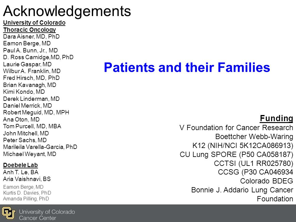 Acknowledgements University of Colorado Thoracic Oncology Dara Aisner, MD, PhD Eamon Berge, MD Paul A. Bunn, Jr., MD D. Ross Camidge,MD, PhD Laurie Ga