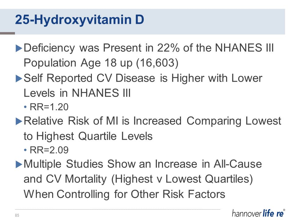  Deficiency was Present in 22% of the NHANES III Population Age 18 up (16,603)  Self Reported CV Disease is Higher with Lower Levels in NHANES III RR=1.20  Relative Risk of MI is Increased Comparing Lowest to Highest Quartile Levels RR=2.09  Multiple Studies Show an Increase in All-Cause and CV Mortality (Highest v Lowest Quartiles) When Controlling for Other Risk Factors 85 25-Hydroxyvitamin D