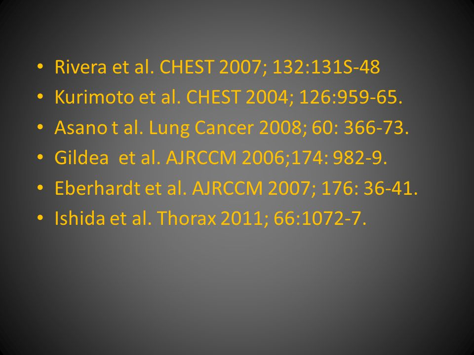 Rivera et al. CHEST 2007; 132:131S-48 Kurimoto et al.