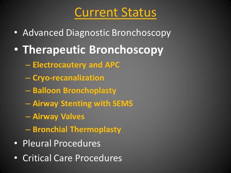 Current Status Advanced Diagnostic Bronchoscopy Therapeutic Bronchoscopy Pleural Procedures – VATS – Chest tube – Pleurodesis including blood patch – Pleur-X indwelling pleural catheter Critical Care Procedures