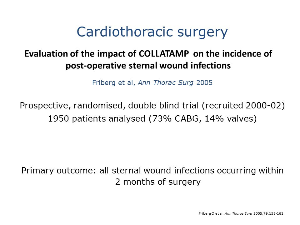 Evaluation of the impact of COLLATAMP on the incidence of post-operative sternal wound infections Friberg et al, Ann Thorac Surg 2005 Prospective, ran