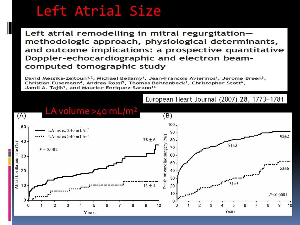 Left Atrial Size LA volume >40 mL/m²