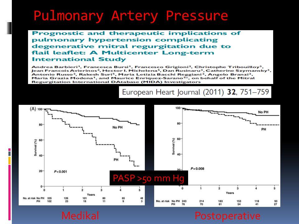 Pulmonary Artery Pressure MedikalPostoperative PASP >50 mm Hg