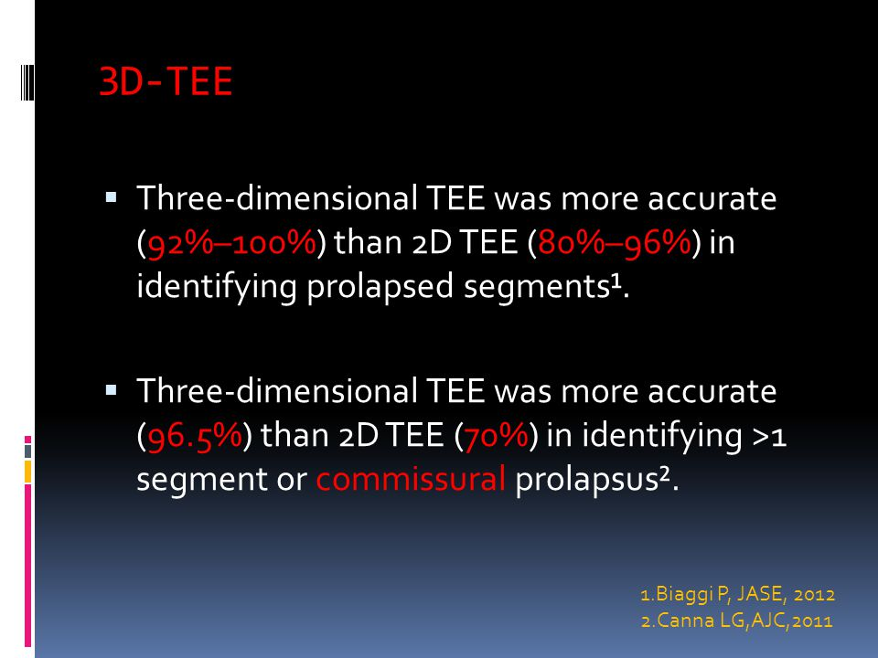 3D-TEE  Three-dimensional TEE was more accurate (92%–100%) than 2D TEE (80%–96%) in identifying prolapsed segments¹.
