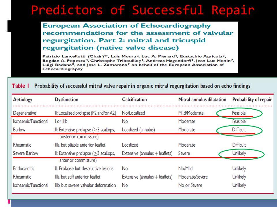 Predictors of Successful Repair