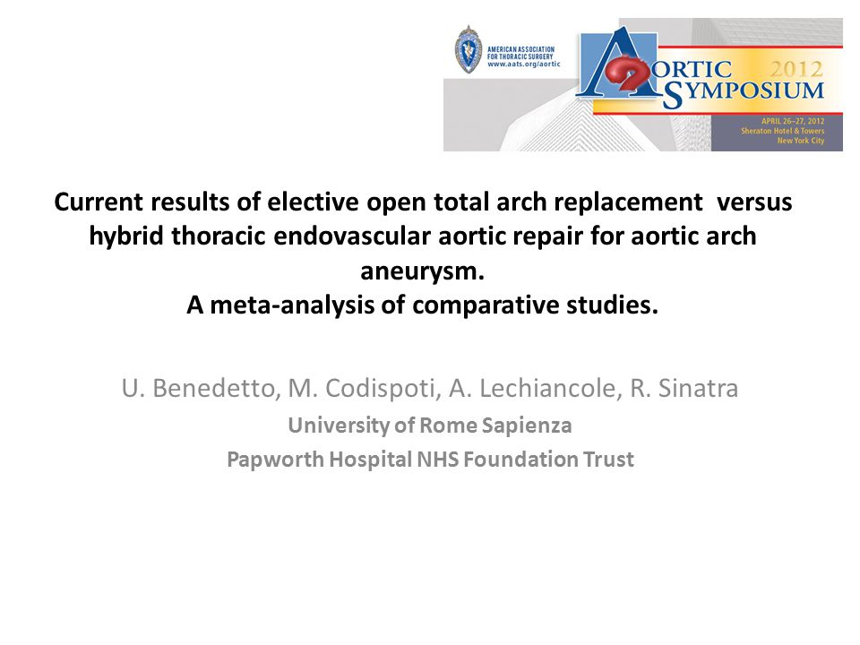Background For aortic arch aneurysm, conventional open total arch replacement has been the standard surgical option.