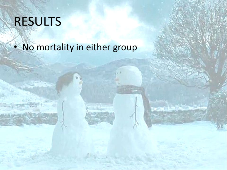 RESULTS No mortality in either group