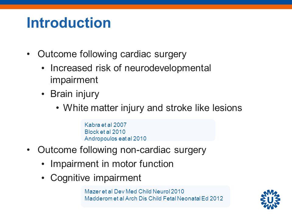 Outcome following cardiac and non-cardiac surgery –Mental and motor delay Laing et al J Paediatr Child Health 2011 Walker et al J Pediatr 2012 45% 26% 38% 26% Introduction