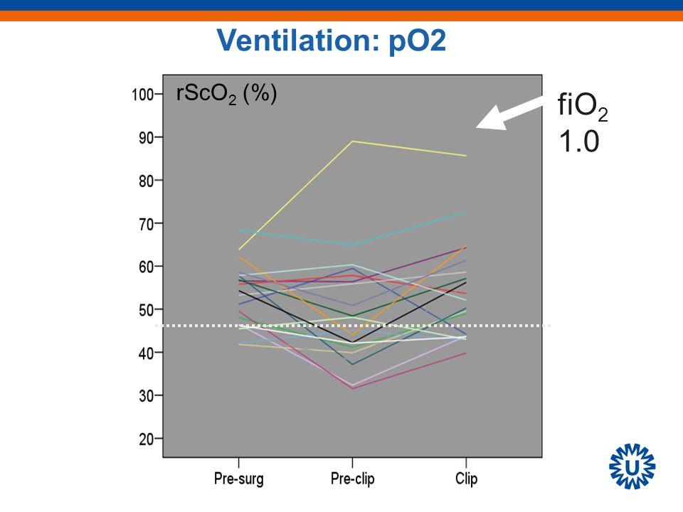 rScO 2 (%) fiO 2 1.0 Ventilation: pO2