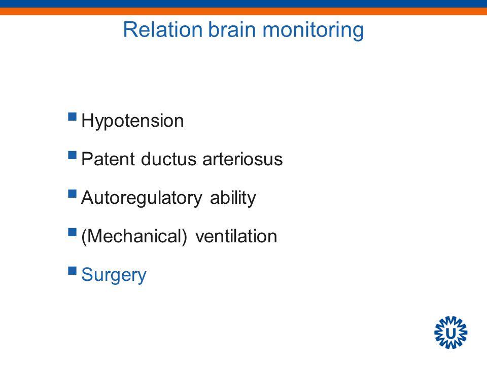 Relation brain monitoring  Hypotension  Patent ductus arteriosus  Autoregulatory ability  (Mechanical) ventilation  Surgery