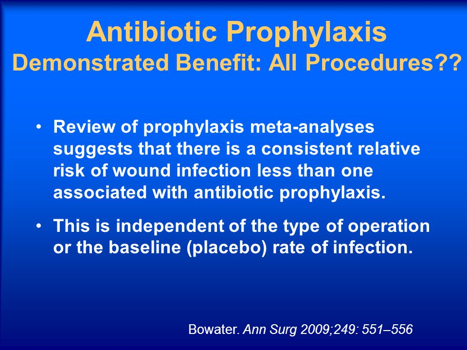 Antibiotic Prophylaxis Demonstrated Benefit: All Procedures?? Review of prophylaxis meta-analyses suggests that there is a consistent relative risk of