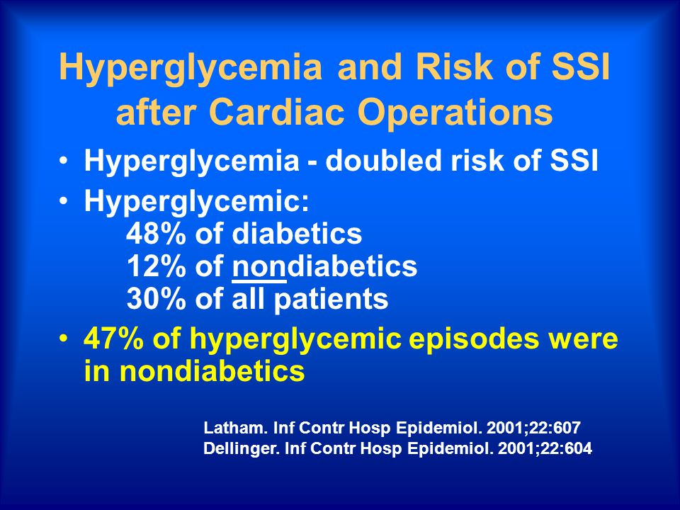 Hyperglycemia and Risk of SSI after Cardiac Operations Hyperglycemia - doubled risk of SSI Hyperglycemic: 48% of diabetics 12% of nondiabetics 30% of