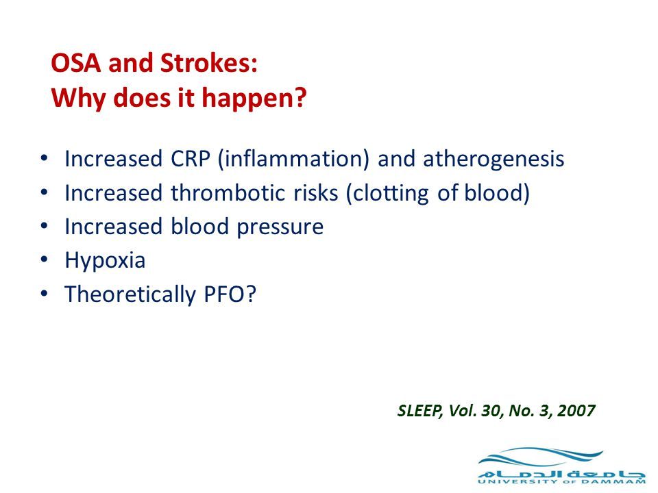 OSA and Strokes: Why does it happen? Increased CRP (inflammation) and atherogenesis Increased thrombotic risks (clotting of blood) Increased blood pre