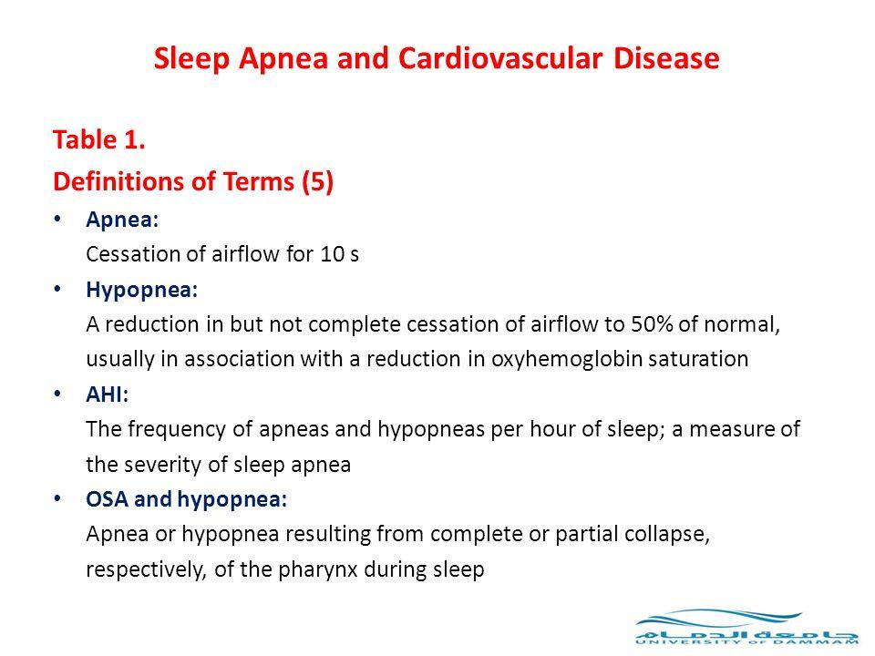Sleep Apnea and Cardiovascular Disease Table 1.