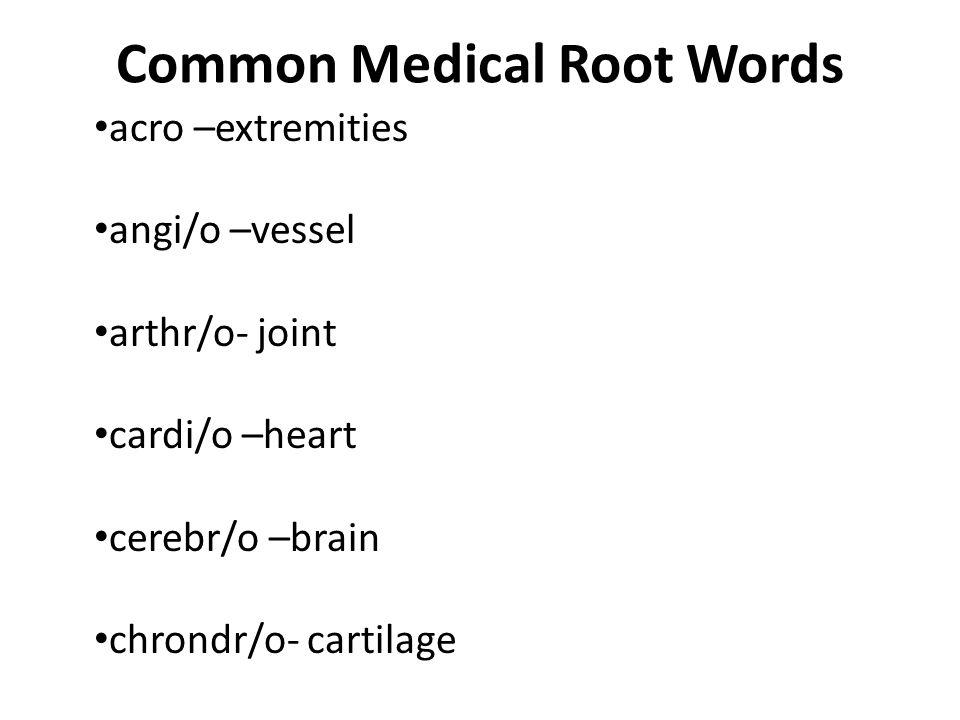 Common Medical Root Words acro –extremities angi/o –vessel arthr/o- joint cardi/o –heart cerebr/o –brain chrondr/o- cartilage