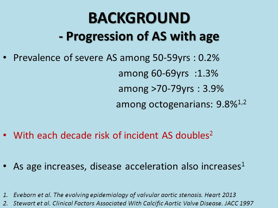 Prevalence of severe AS among 50-59yrs : 0.2% among 60-69yrs :1.3% among >70-79yrs : 3.9% among octogenarians: 9.8% 1,2 With each decade risk of incid