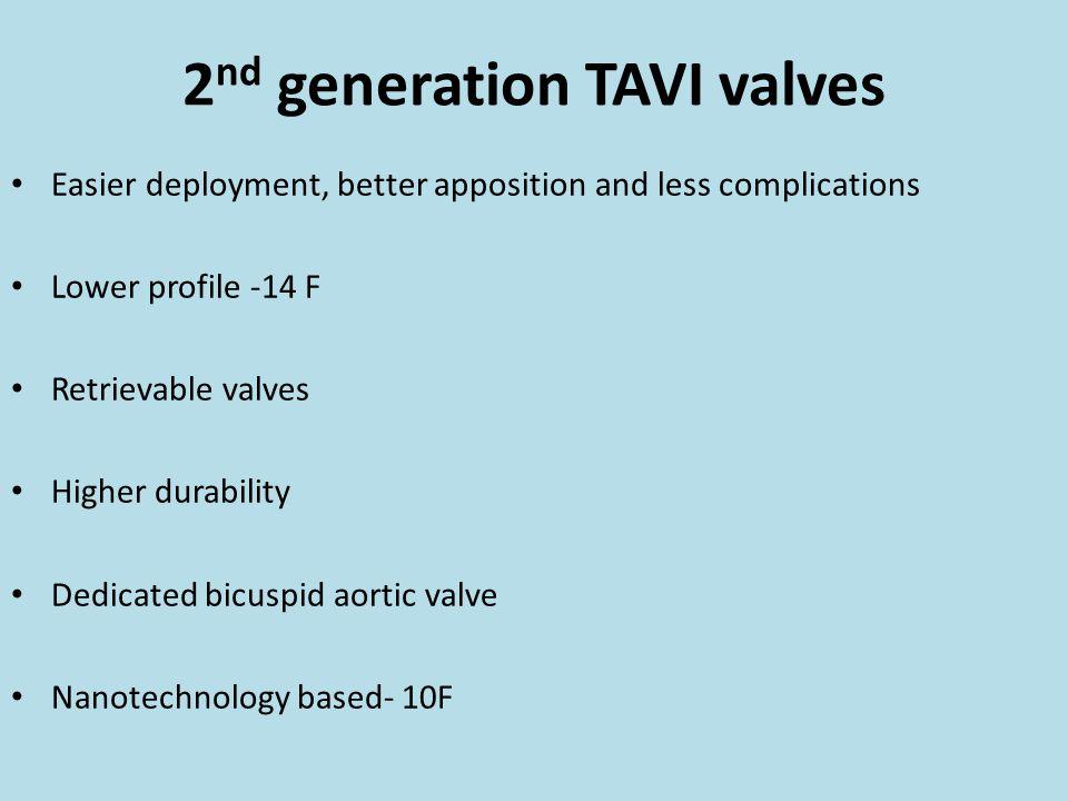 2 nd generation TAVI valves Easier deployment, better apposition and less complications Lower profile -14 F Retrievable valves Higher durability Dedic