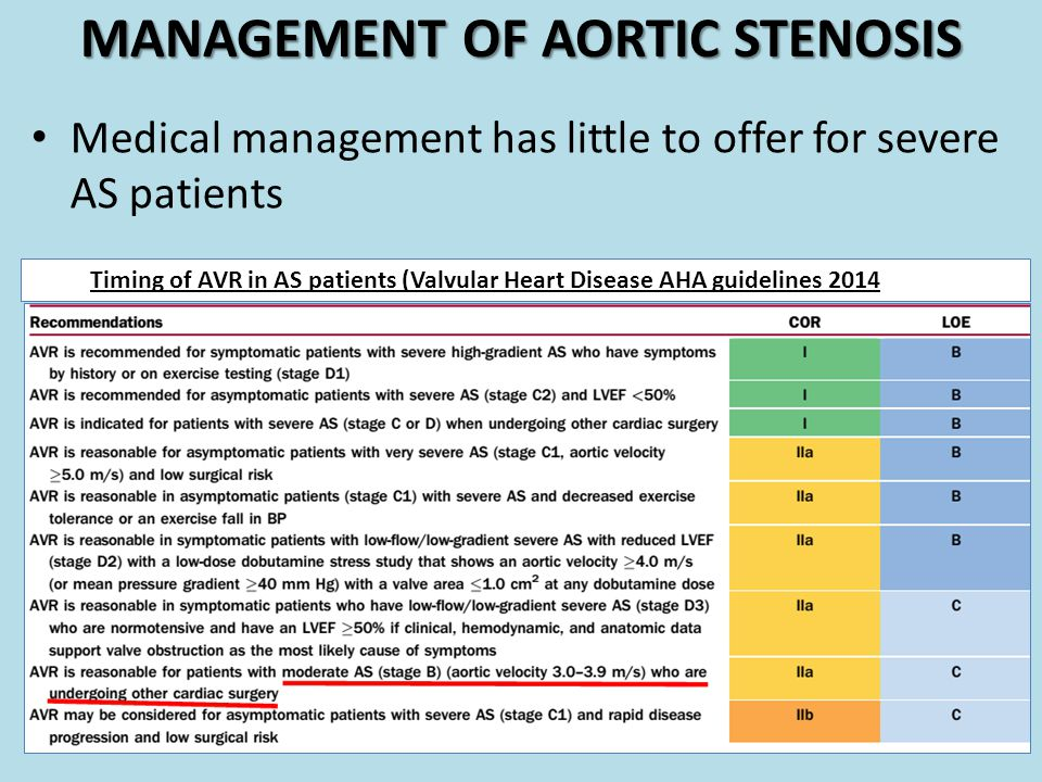 MANAGEMENT OF AORTIC STENOSIS Medical management has little to offer for severe AS patients Timing of AVR in AS patients (Valvular Heart Disease AHA g