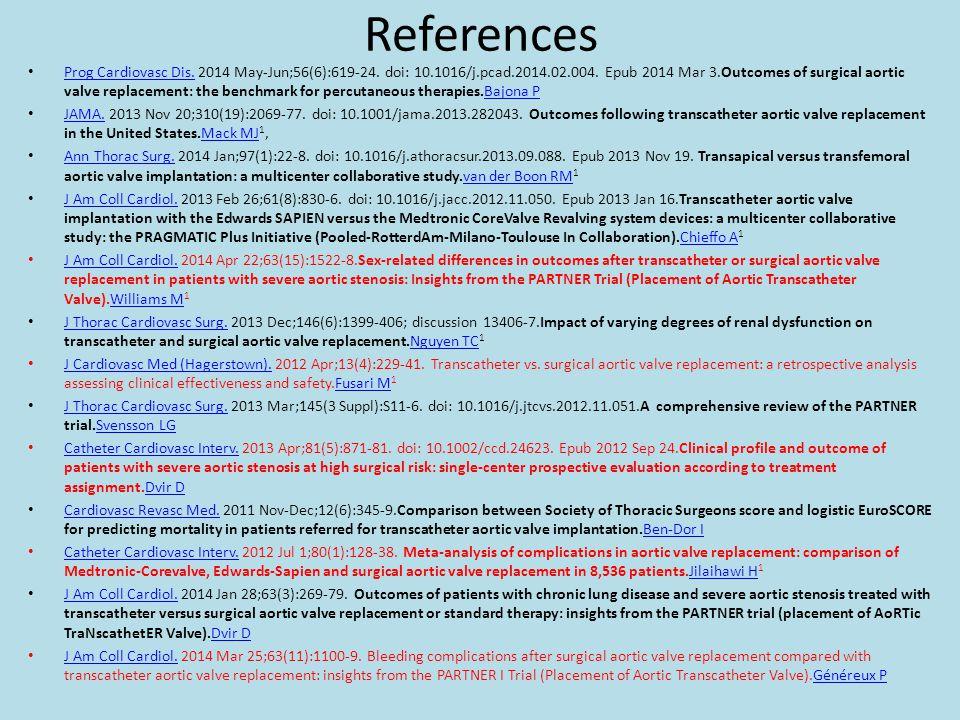 References Prog Cardiovasc Dis. 2014 May-Jun;56(6):619-24. doi: 10.1016/j.pcad.2014.02.004. Epub 2014 Mar 3.Outcomes of surgical aortic valve replacem