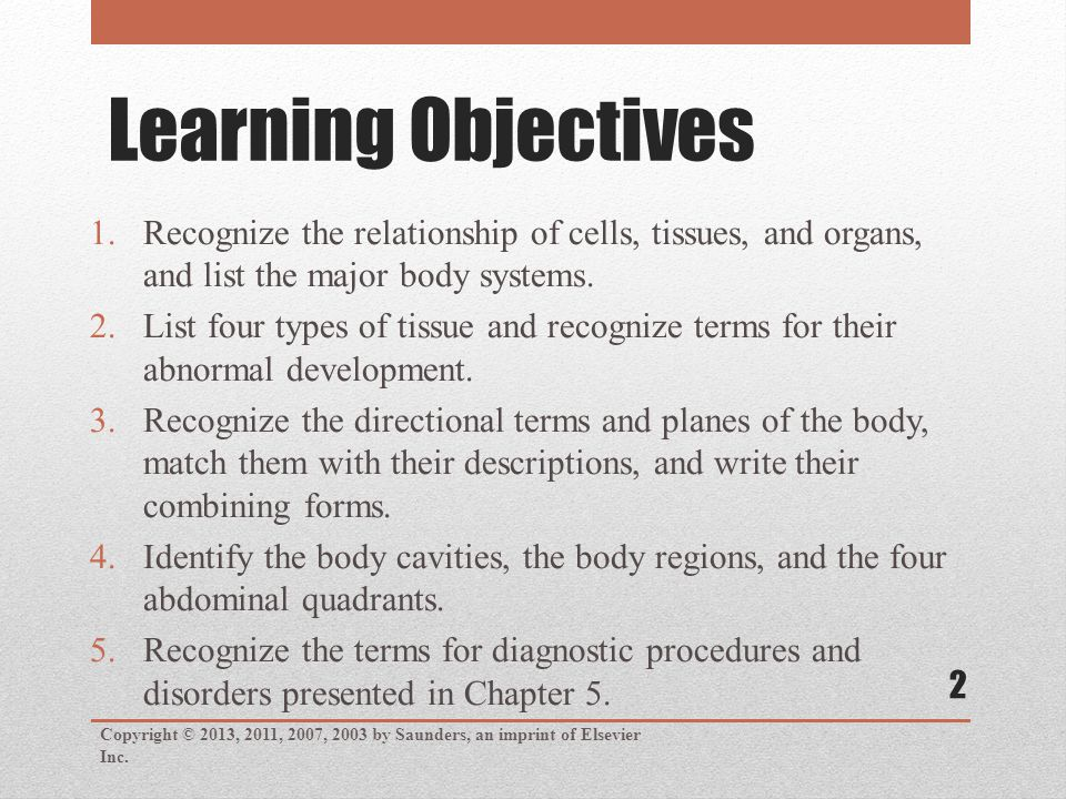 Learning Objectives Copyright © 2013, 2011, 2007, 2003 by Saunders, an imprint of Elsevier Inc.