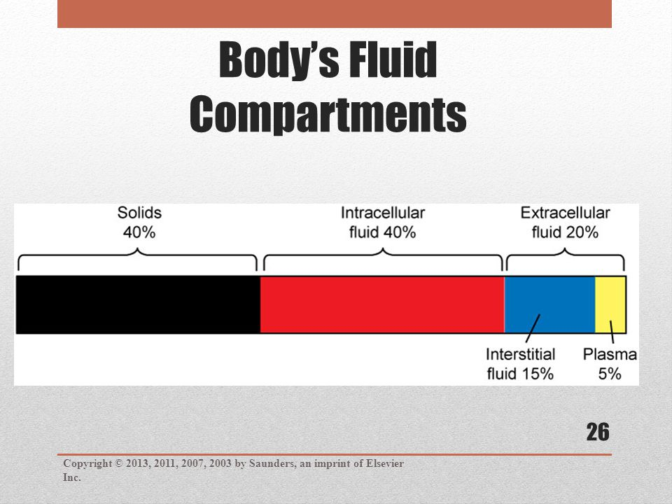 Body's Fluid Compartments Copyright © 2013, 2011, 2007, 2003 by Saunders, an imprint of Elsevier Inc. 26