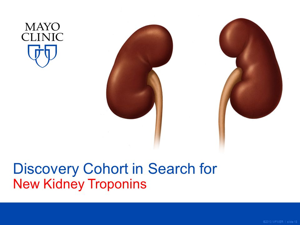 ©2013 MFMER | slide-18 Discovery Cohort in Search for New Kidney Troponins