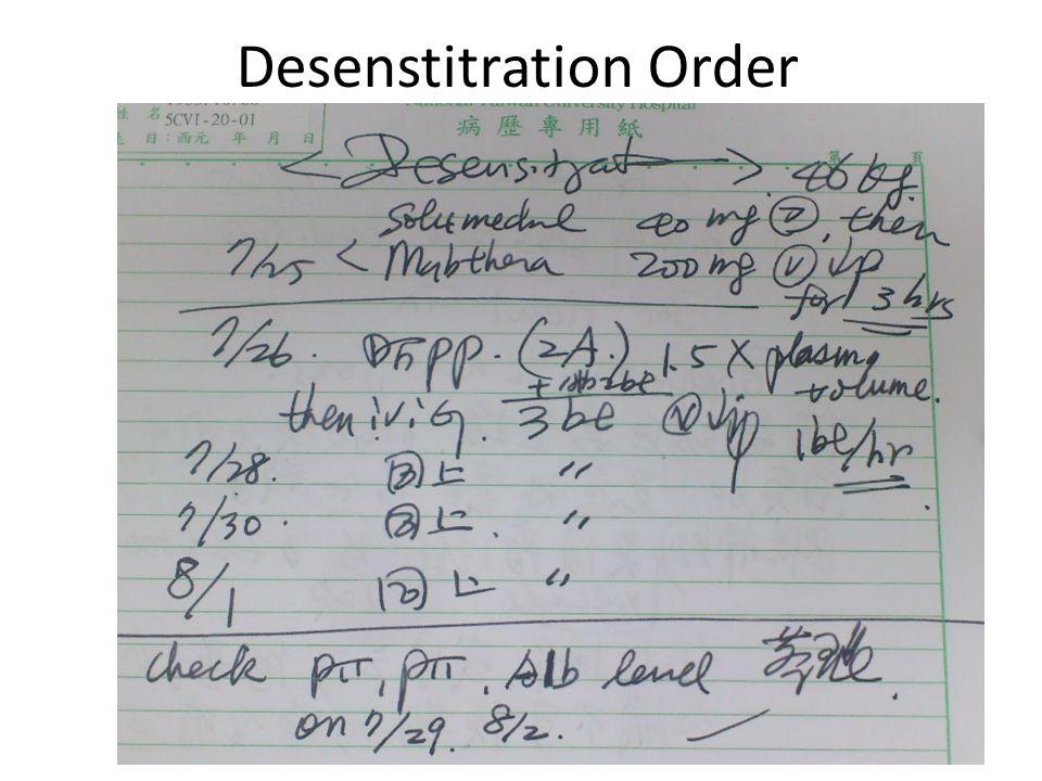 Desenstitration Order