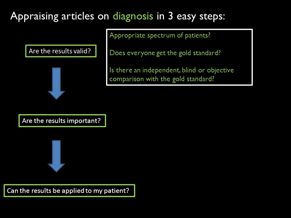 Feeling confident in making the diagnosis and understanding prognosis helps determine whether to proceed with therapy When appraising articles, always consider validity, importance, and applicability Knowledge translation in this setting is the interpretation and integration of appraised and accepted evidence into clinical practice recommendations