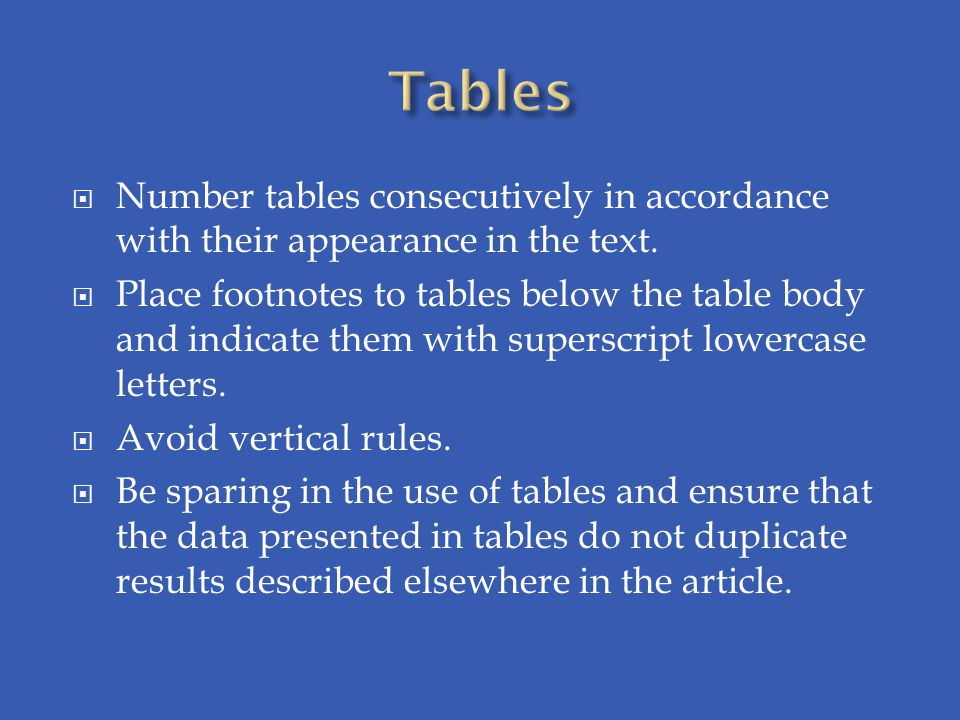  Number tables consecutively in accordance with their appearance in the text.