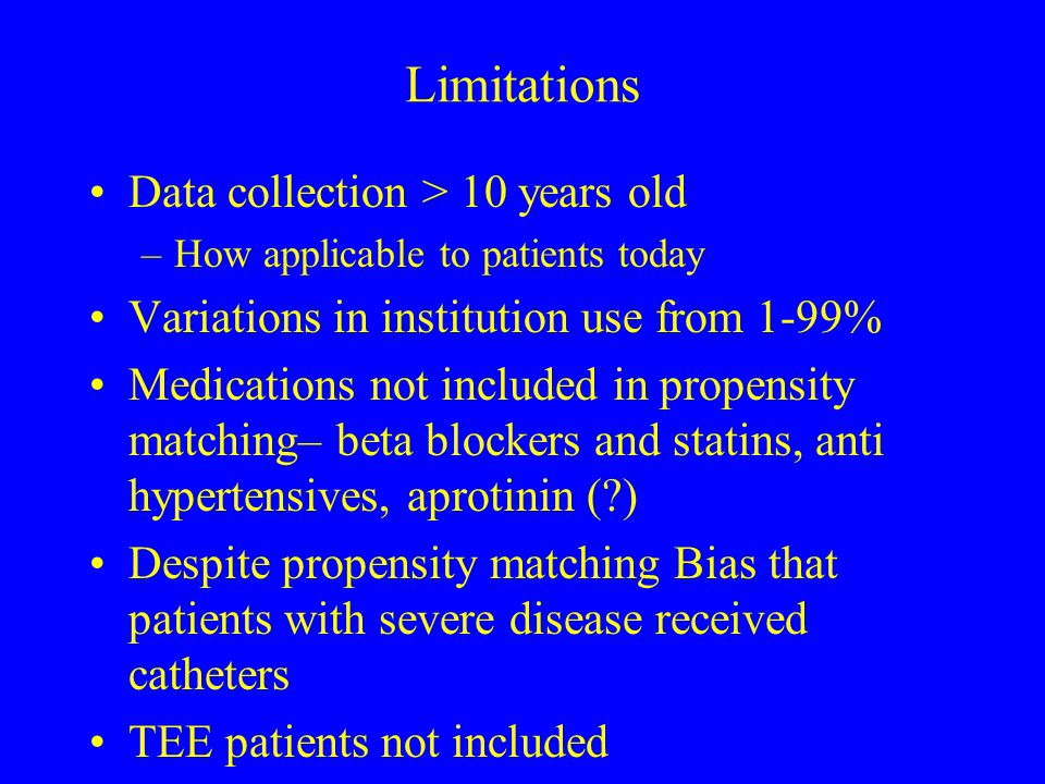 Limitations Data collection > 10 years old –How applicable to patients today Variations in institution use from 1-99% Medications not included in prop