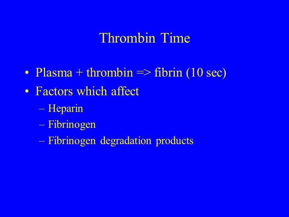 Thrombin Time Plasma + thrombin => fibrin (10 sec) Factors which affect –Heparin –Fibrinogen –Fibrinogen degradation products